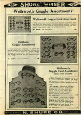 1924 PAPER AD 2 Sided Wellsworth Willson Goggles Store Display Card