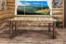 Amish Made Dining Table 7 foot Rustic Log Extending Table Cabin Furniture