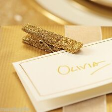 Gold Glitter Wedding Party Hanging Place Card  Favour Pegs Christmas Decorations