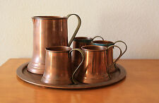 Vintage antique copper and brass mug, pitcher, tray marked Revere Ware