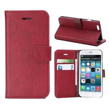 "For iPhone 6/6s 4.7"" Red Genuine Real Leather Business Wallet Case Cover Stand"