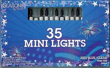 RED ~ WHITE ~ BLUE MINI LIGHTS *35 CT* ~8.5 FT LONG HOLIDAYS / PARTIES ~ NIB