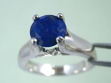 LAPIS LAZULI - Cobalt Blue Faceted .925 Sterling Tulip-gallery Ring 1.28ct
