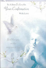 To A Dear Godson On Your Confirmation Card, With Love Doves & Flowers.