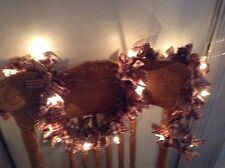 Country primitive 6' burgundy / tan garland, swag  hand tied With Lights battery