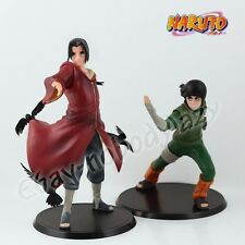 2Pcs Naruto Uchiha Itachi & Rock Lee 17cm/6.8'' PVC Figure Set Loose