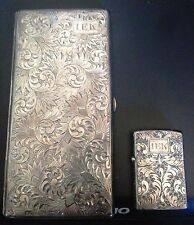 Vintage 950 Sterling Silver Chased Cigarette Case W/Zippo Lighter