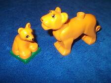 LEGO DUPLO ZOO FAMILIE 1 X LÖWIN + 1 X  BABY selten ZIRKUS ORANGE