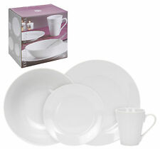 16 Piece White Porcelain Dinner Serving Dinnerware Dining Set Cups Bowls Plates