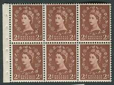 SB.77 1955 2d Light Red-Brown booklet pane of 6 with selvedge, Unmounted mint.