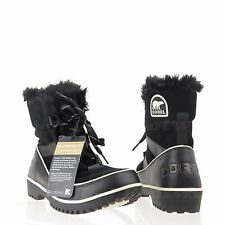 Sorel Tivoli II Women's Shoes Black Leather Fur Winter Boots Size 5.5 M NEW!