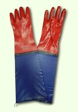"1 PAIR RED PVC WORK GLOVES WATERPROOF GAUNTLETS DRAIN FISHING 24"" 60 CM"