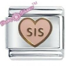 PINK SIS HEART -  Daisy Charms by JSC Fits Classic Size Italian Charm Bracelet
