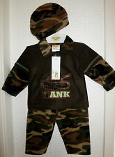 Baby Boy Winter Camouflage Outfit 3pc Long sleeve Fleece Top Trousers Hat 3-9 M