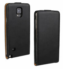 Black Genuine Real Leather Slim Flip Case Cover Skin For Samsung Galaxy Note 4