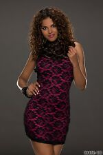 Party club wear élégant cocktail noir/fuchsia mini robe taille uk 10-12