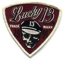 Lucky 13 Patch Badge Sleeve Motorcycle Skull Logo Hot Rod Drag race Tattoo