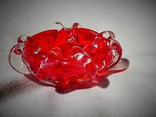 UNUSUAL MURANO WET LOOK RASPBERRY RED & CLEAR GLASS CURLED SCROLL DISH