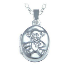 """STERLING SILVER CHILDRENS TEDDY BEAR LOCKET PENDANT WITH 16"""" CHAIN"""