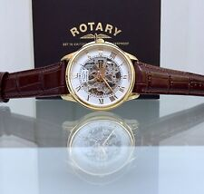 Rotary Automatic Mens Watch Gold Plated Skeleton Brown Leather Strap Swiss Watch