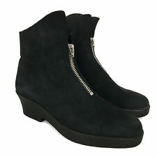 Arche Women's Ankle Boots Black Nubuck Booties Zip MADE in FRANCE EU 38 US 6.5