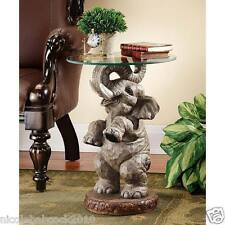 AFRICAN GOOD LUCK & FORTUNE  SCULPTURAL ELEPHANT W/ FAUX TUSKS DISPLAY TABLE