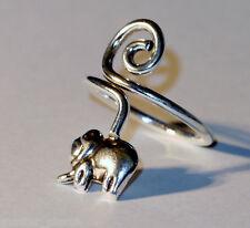 925 Sterling Silver Elephant Swirl Twist Design Toe Ring Adjustable Jewellery