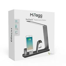 Mitaag nudock Argento APPLE IPHONE 7,6,5 & Orologio i Power Dock con Smart LED Lampada