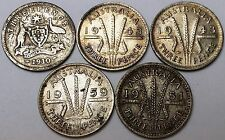Collection of 5 Australia 3 Pence Threepence Silver Coins 1910 1943 1951 1959