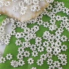 1000PCS Silver Plated Metal Daisy Flower Loose Spacer Beads 4mm DIY Findings