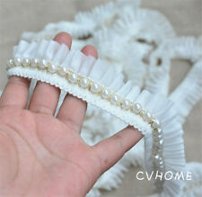 1M White Vintage Pearl Beaded Lace Chiffon Trim Wedding Dress DIY Sewing Craft