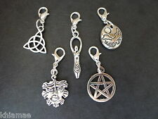 5 x Clip On Earth Bracelet Charms pagan silver set goddess pentacle green man