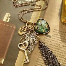 Fashion Women Girl Vintage Heart Key Pendant Peacock Leaf Long Chain Necklace