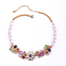 N2691 Rose Gold Plated Faceted Bead Chain Enamel Daisy Floral Statement Necklace