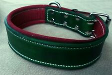 Large Red & Green - Leather Dog Collar & Soft Suede Leather Inner Lining
