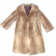 Genuine Fur Winter Coat Women's Size Medium Tan Brown White Peacoat Jacket M