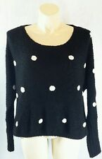 Kate Collection L black white polka dot high low long sl slouchy sweater LN