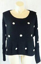 Kate Collection L black white polka dot high low long sl slouchy sweater LN