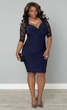 Ladies Plus Size 3XL/XXXL Black Lace Blue Rauched Stretch Club Party Dress! New