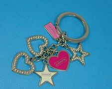 NEW Coach Heart Stars Girlie Mix Charms KeyChain Key Ring Fob Pink/Silver Girl