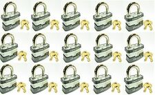 Lock Set by Master 3KA (Lot 15) KEYED ALIKE Commercial Steel Laminated Padlocks