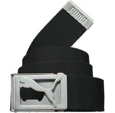 PUMA CAT LOGO CUT-OUT STAPLE CANVAS GOLF WEB BELT BLACK ONE SIZE ADJUSTABLE