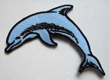 BLUE SMILEY FACE DOLPHIN Embroidered Iron on Patch Free Postage