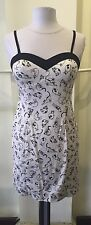 Ixia White Cat Print Sweetheart Contrast Dress