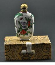 Vintage Chinese Enamel Copper Snuff Bottle Hand painted - Plum & Peach Fruit