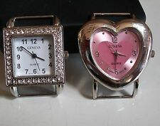SET OF 2 SILVER  FINISH HEART/SQUARE WATCH FACES FOR BEADING,RIBBON OR OTHER USE
