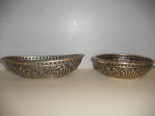 TWO ANTIQUE STERLING SILVER PERSIAN OR CONTINENTAL BASKET AND BOWL REPOUSSE