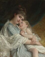 "HD Print Mother & daughter Oil painting Picture Printed on canvas 16""X20"" P140"