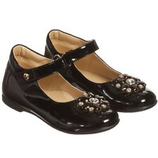 MISSOURI BABY GIRLS BLACK PATENT LEATHER JEWEL SHOES EU 22 UK 5