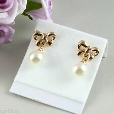 E4 Bridal Prom Party Wedding Gold Plated Bow Pearl Stud Earrings